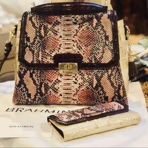 Rare Brahmin Brinley Pink Collins Leather Satchel